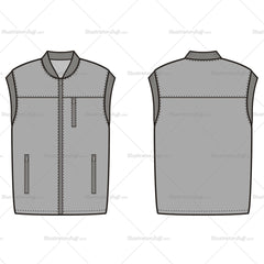 Unisex Vest Fashion Flat Template