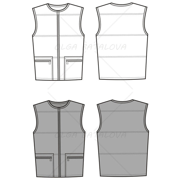 {Illustrator Stuff} Unisex Quilted Vest Fashion Flat Template
