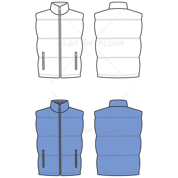 {Illustrator Stuff} Unisex Quilted Puffy Vest Fashion Flat Template