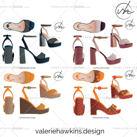 Footwear/ Shoe- Platform Sandal, 4 Heel Options, 5 Repeat Fill Patterns