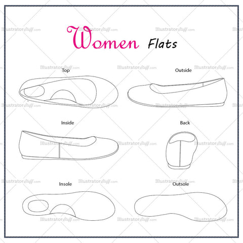 Women's Flat Shoes Fashion Flat Template