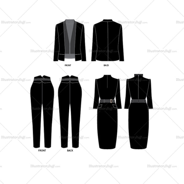 Women's Formal Wear Collection Fashion Flat Templates