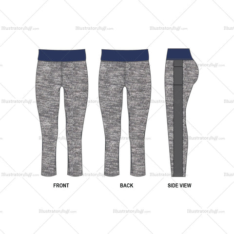 Women's Leggings Fashion Flat Template
