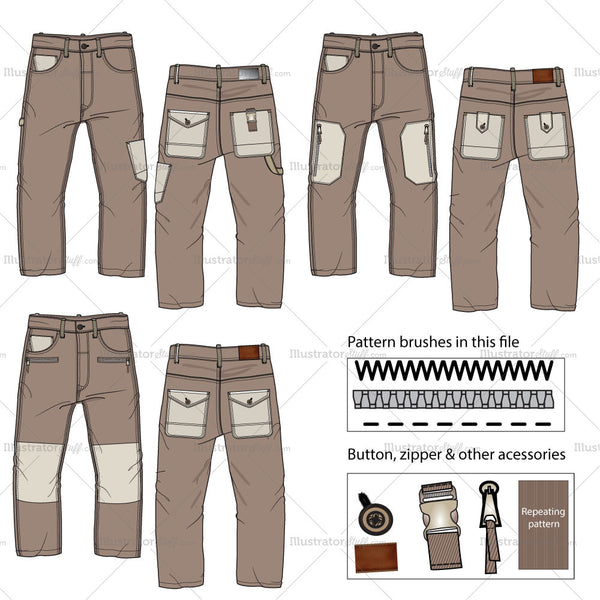 Worker's Cargo Pants Flat Templates