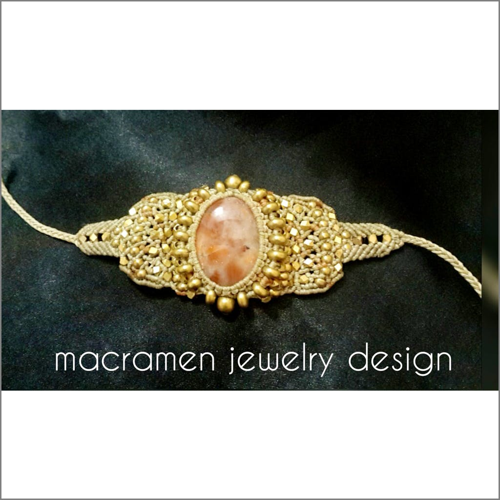 Handmade Unique Macrame Bracelet by Macramen Jewelry Sunstone No.0104 Bracelet Macramen Inc. $65.00 Macramen Jewelry