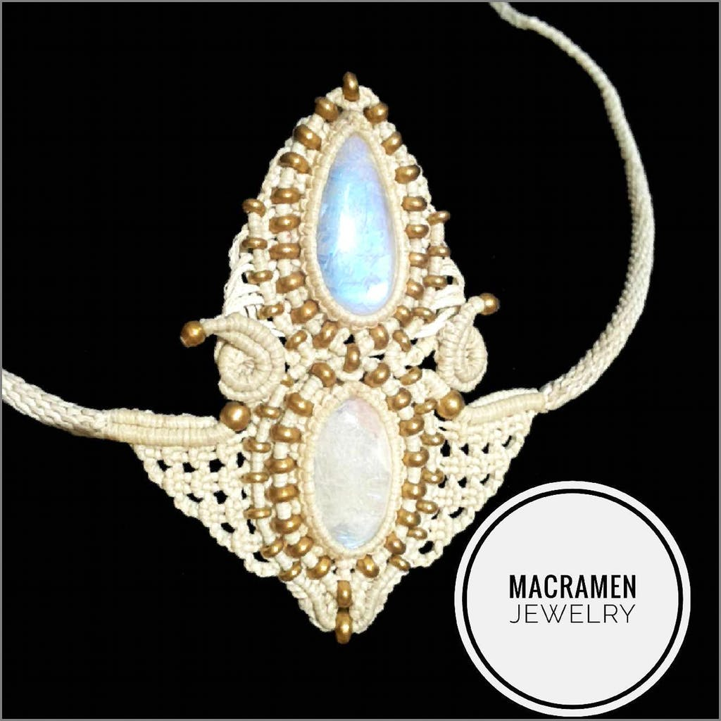Moonstone White Summer Tiara Crown Macramen Jewelry Collection No.0119 tiara crown Macramen Inc. $210.00 Macramen Jewelry