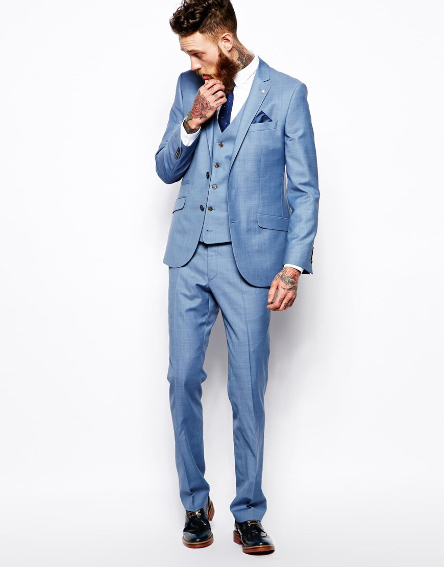 Light Blue Slim Suit Jacket Thumbnail