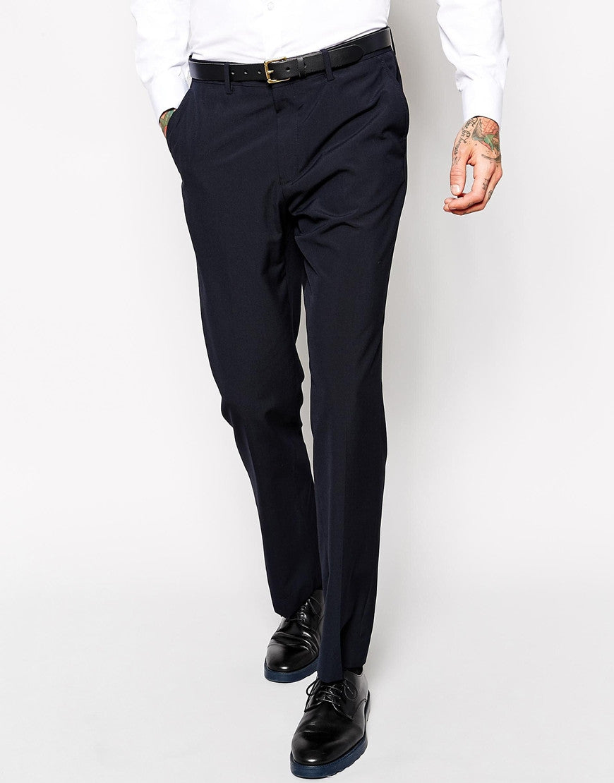 Navy Regular Fit Suit Trousers