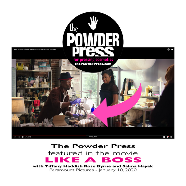 The Powder Press was featured in the movie LIKE A BOSS with Tiffany Haddish, Rose Byrne, and Selma Hayek - cosmetic powder pressing tool by ThePowderPress.com