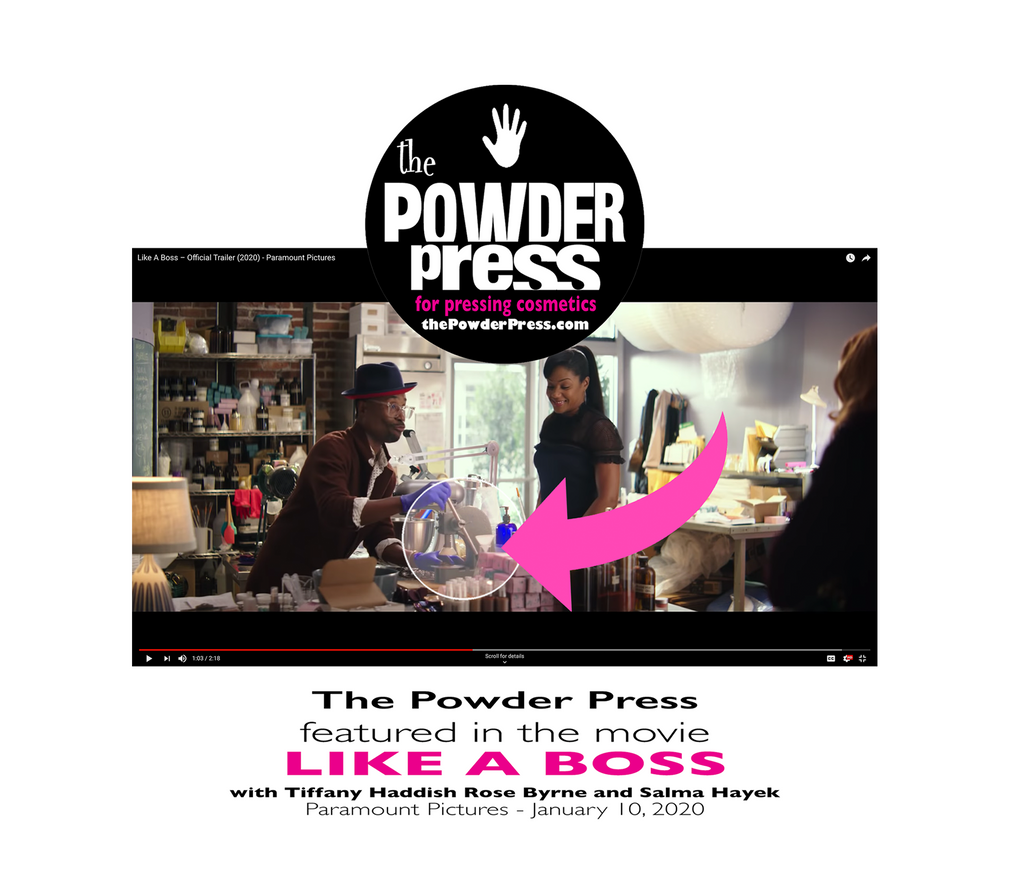 The Powder Press is featured in the movie LIKE A BOSS with Tiffany Haddish, Selma Hayek, and Rose Byrne - The Powder Press is an indie cosmetic power pressing tool by thepowderpress.com