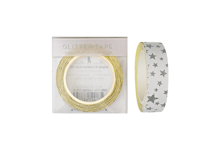 Meri Meri Silver Stars on White Glitter Tape