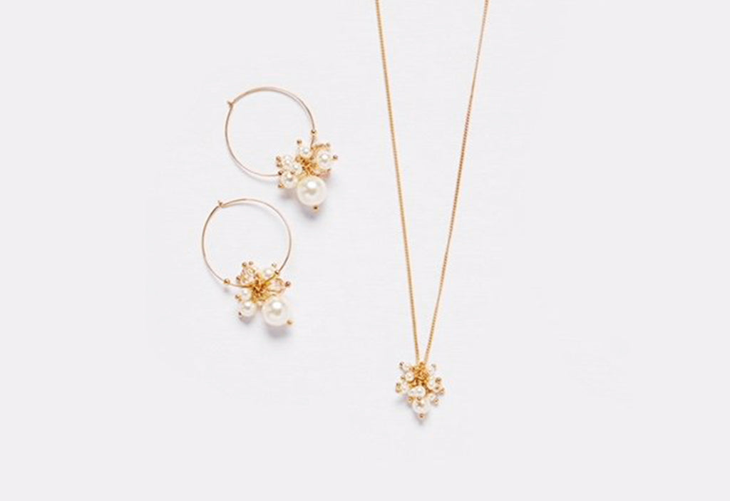 Chan Luu Swarovski Pearl & Crystal Necklace and Earring Set in Gold