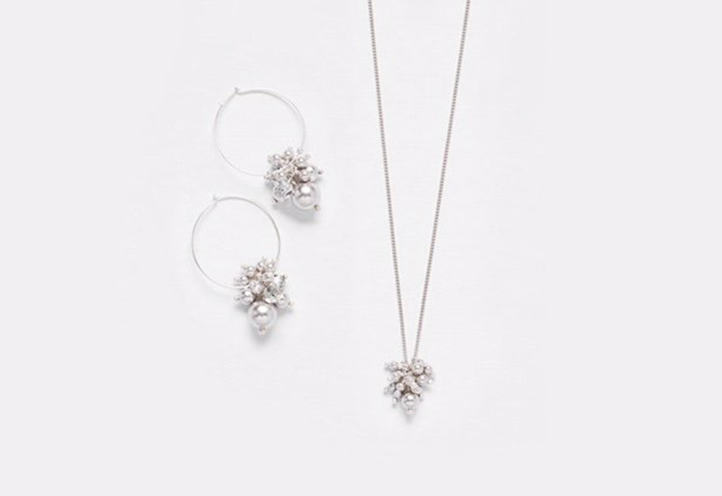 Chan Luu Swarovski Pearl & Crystal Necklace and Earring Set in Silver