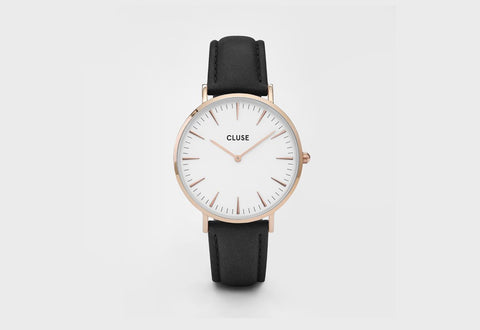 Cluse La Boheme Rose Gold Watch with Black Band