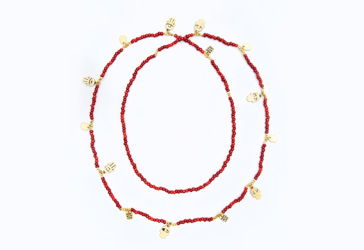 CC SKYE Coral Beaded Bali Necklace with Antique Gold Charms