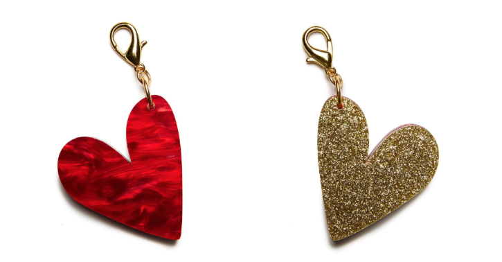 Edie Parker Heart Charm in Red & Gold