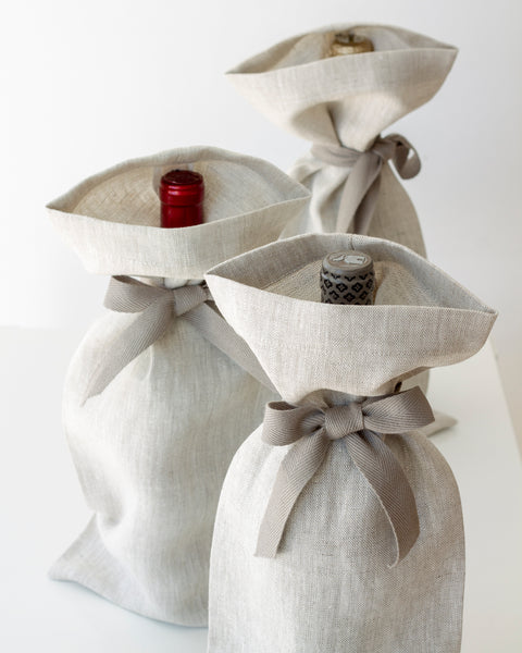 Linen Gift Bag in Oatmeal - Set of 3