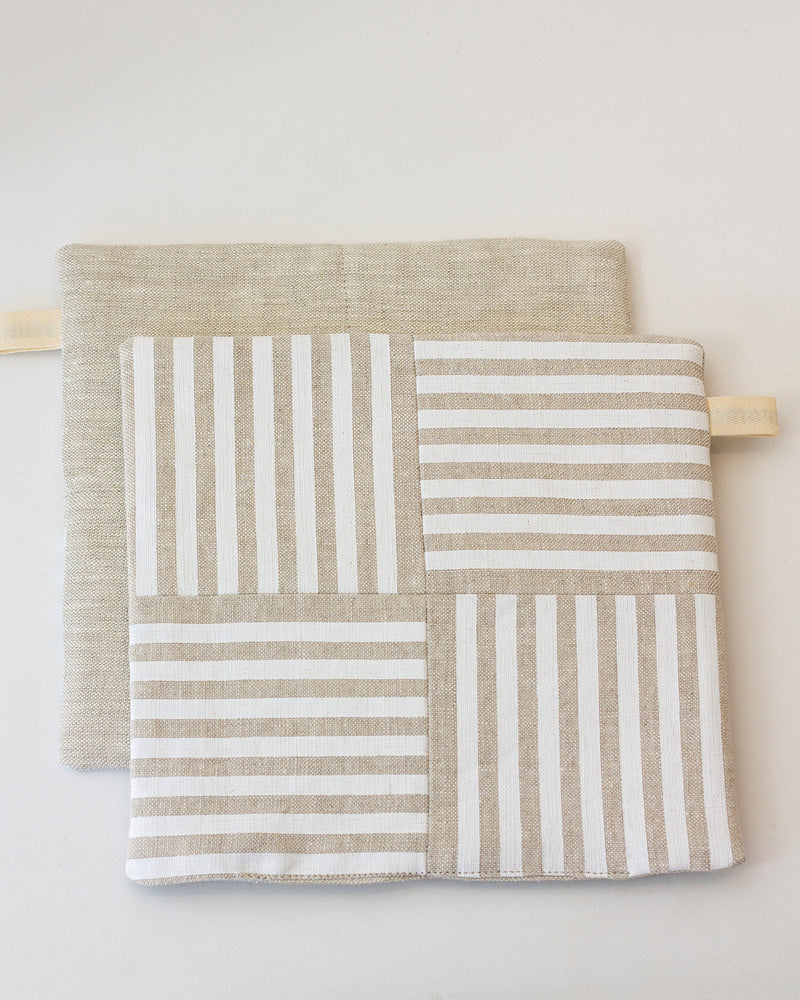 Striped Linen Trivet and Potholder