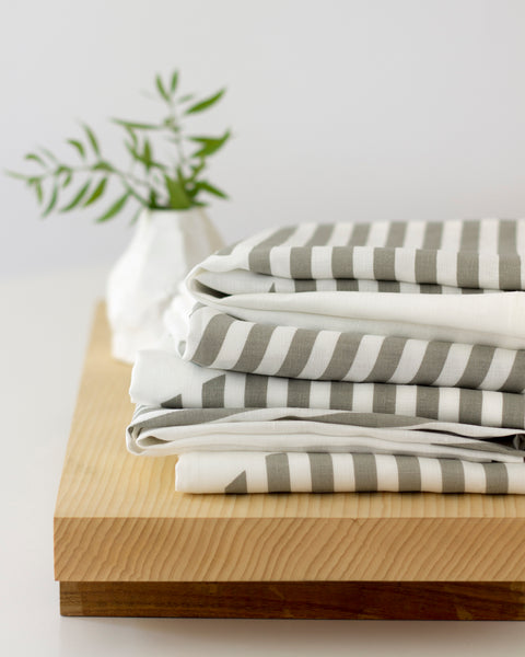 Points Linen Towel in Slate