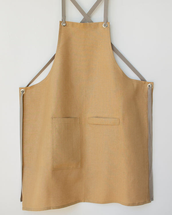Crossback Linen Apron - Wheat
