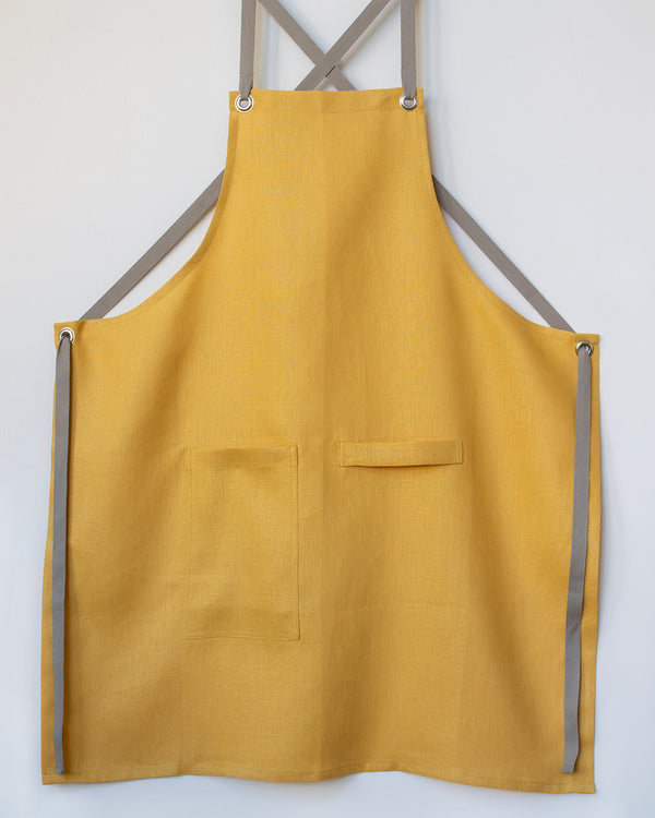 Crossback Linen Apron - Honey