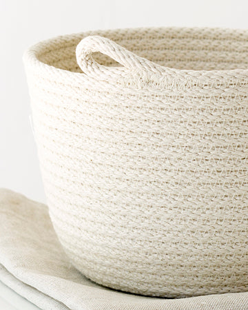 Flour Sack + Cord Basket Set - Small
