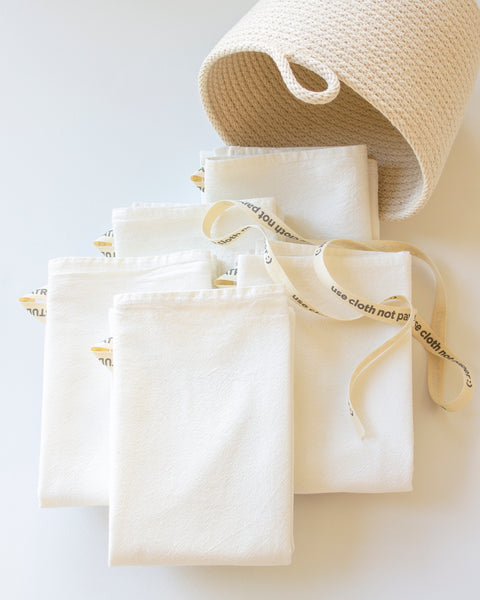 Flour Sack + Rope Basket Set