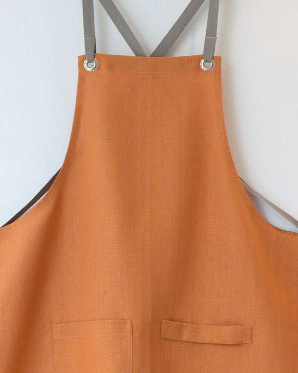Crossback Linen Apron - Copper