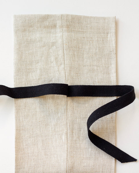 Linen Gift Bag with Black Twill - Set of 3