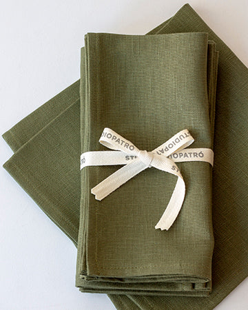 Linen Napkins in Olive - Set of 4