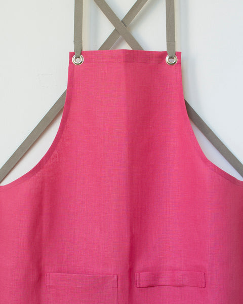 Crossback Linen Apron - Rosey