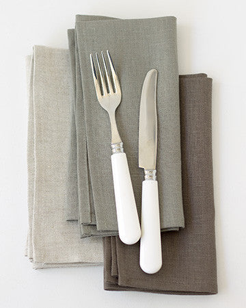 Linen Napkins in Bark - Set of 4