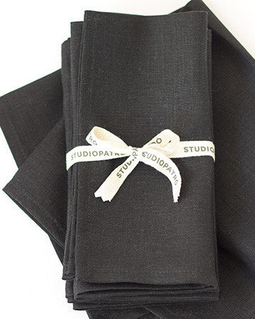 Linen Napkins in Black - Set of 4