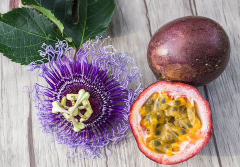 Passionfruit flower and fruit