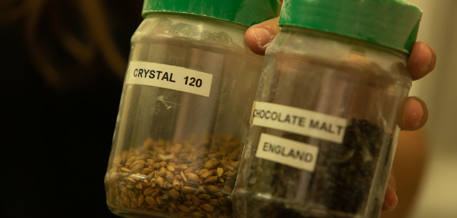 Jars of Crystal 120 and Chocolate malts from England