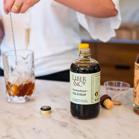 Liber & Co Caramelized Fig Syrup being used on indoor bar