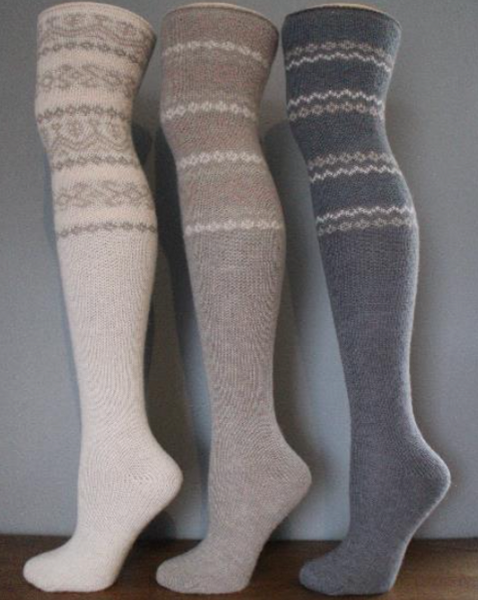 PERUVIAN FAIRSLE OVER THE KNEE SOCKS 3x Colours