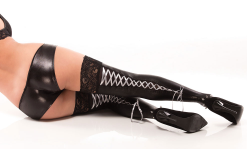 COQUETTE* Lace up Wet Look Stockings