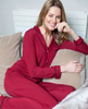 Violet Long Sleeve Revere Collar Knit Pyjama Set