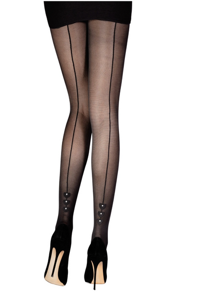 30 DEN SHEER LINED BACK PANTYHOSE WITH GEMS