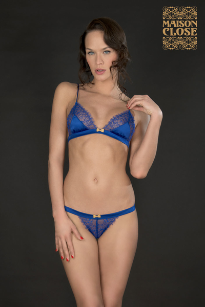 VILLA SATINE BLUE TRIANGLE BRA