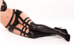 COQUETTE* Wet Look Strappy Stockings