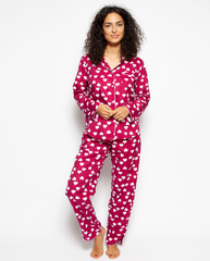 Susie Woven Long Sleeve Heart Print Pyjama Set