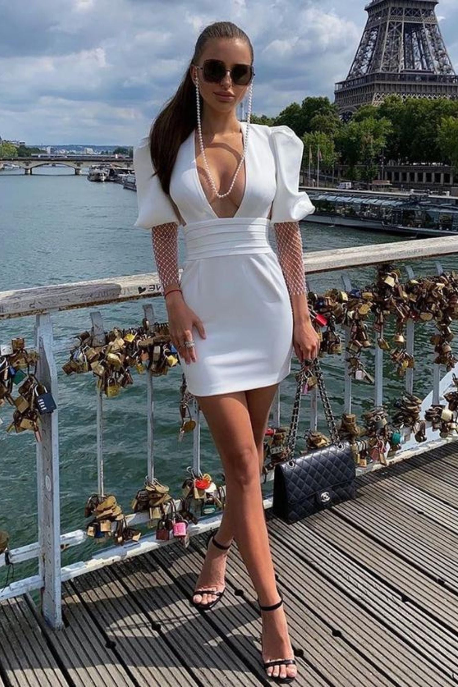 women's White Puff Sleeve Bodycon Backless Belted Dress