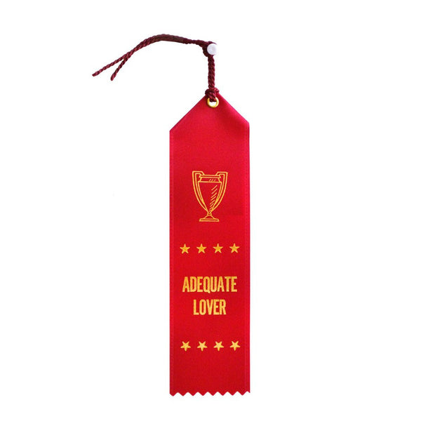 Adequate Lover Ribbon, adulting award, red with gold foil