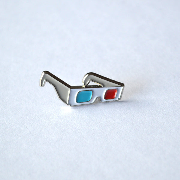 3D Glasses enamel pin, lapel pin