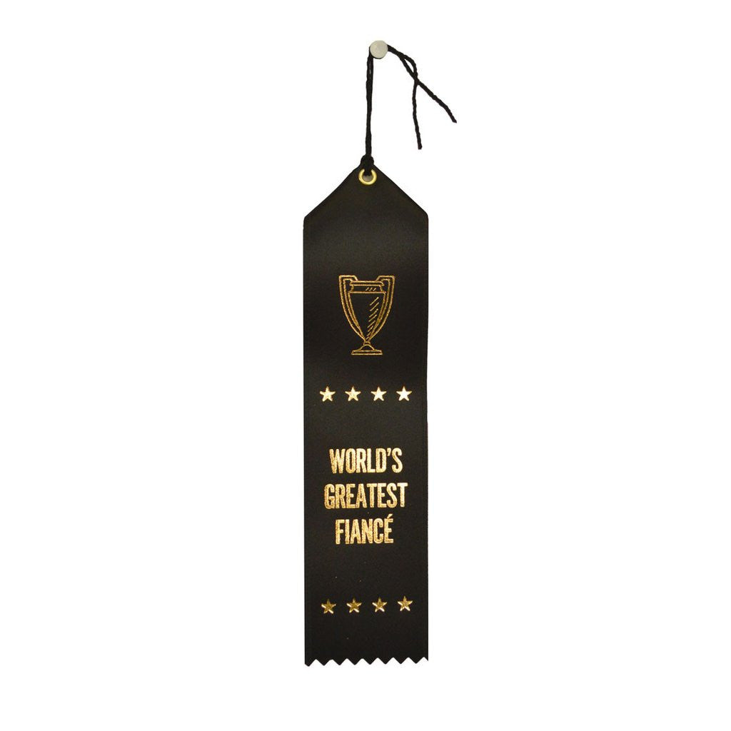 World's Greatest Fiance award ribbon, ribbon with eyelet and string, black with stamped gold foil, adulting award