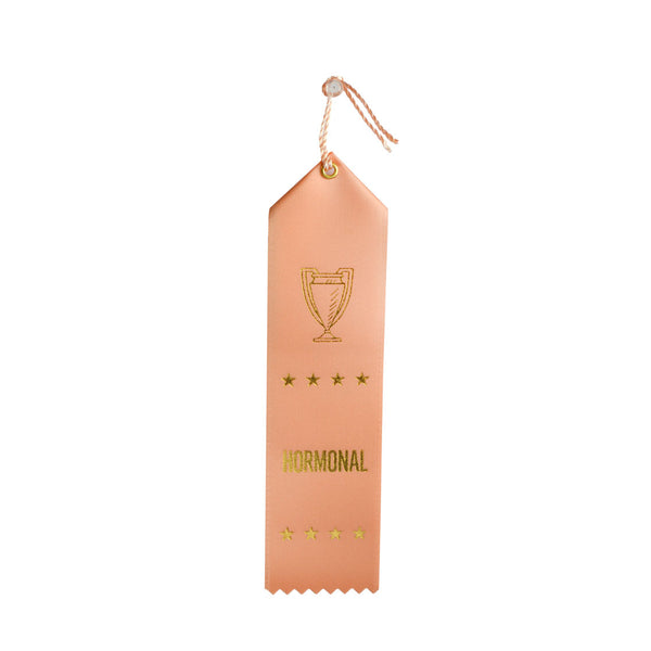 Hormonal award ribbon, ribbon with eyelet and string, peach color with stamped gold foil, adulting award