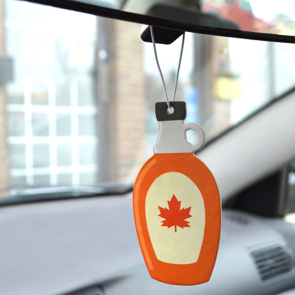 Maple Syrup scented car air freshener, shaped in maple syrup bottle with maple leaf