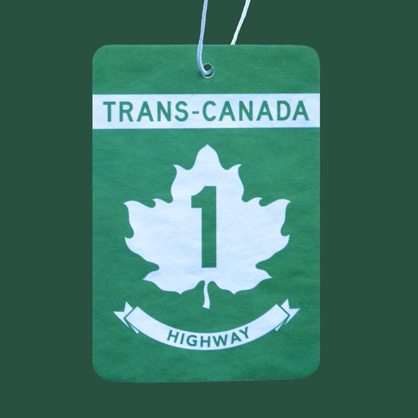 Canadian Road Trip Air Freshener, Highway 1 inspired green and white car freshener, everfresh scent